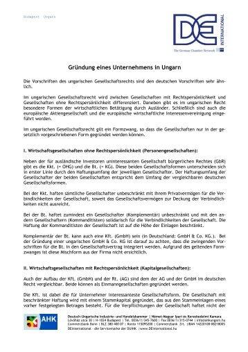 Firmengründung in Ungarn - Deutsch-Ungarische Industrie- und ...