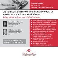 Die Klinische Bewertung von Medizinprodukten einschließlich ...