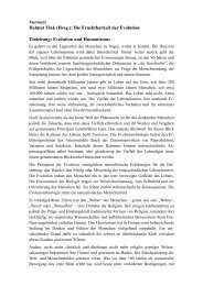 Vorwort Helmut Fink (Hrsg.): Die Fruchtbarkeit der Evolution ...