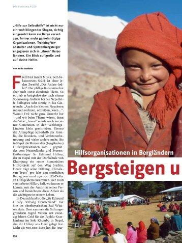 Hilfsorganisationen in Bergländern - Deutscher Alpenverein