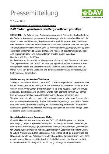 140207 Podiumsdiskussion JPK.pdf - Deutscher Alpenverein