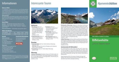 25b81d4b958a3d Informationen Interessante Touren Riffelseehütte - Deutscher ...