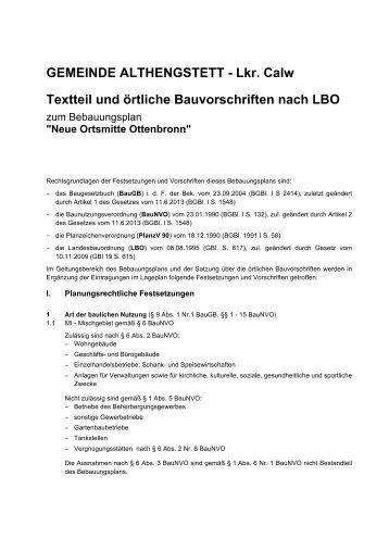 Lkr. Calw Textteil und örtliche Bauvorschriften nach LBO - Althengstett