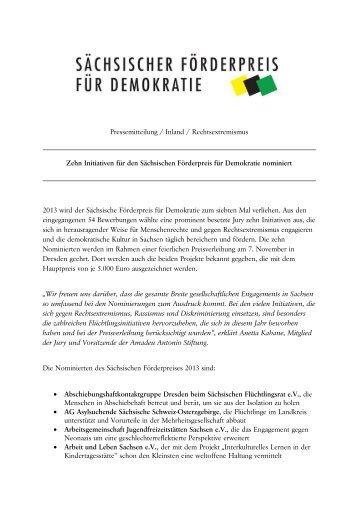 Nominierungen zum Sächsischen Förderpreis für Demokratie 2013