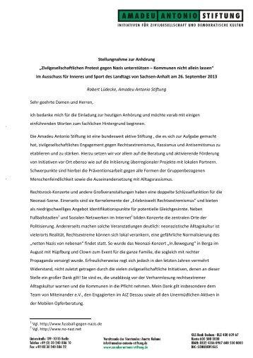 Die Stellungnahme inklusive Handlungsempfehlungen der Amadeu ...
