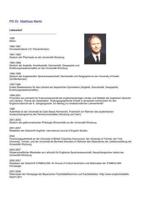 Lebenslauf Anglistik Und Amerikanistik Universitat Wurzburg
