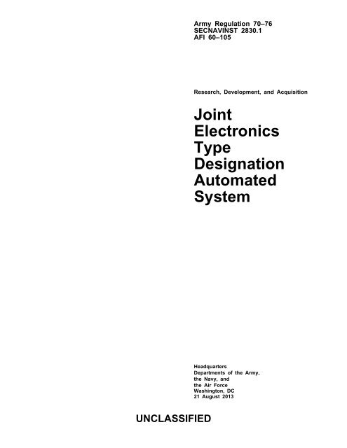 Joint Electronics Type Designation Automated System Army