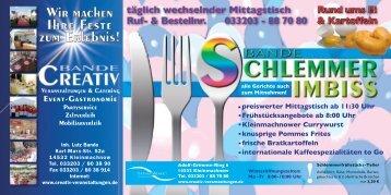 Mittagstisch/Wochenkarte - Creativ Veranstaltungen