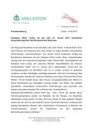 Pressemitteilung Lindau, 15.02.2013 Asklepios Klinik Lindau ist seit ...