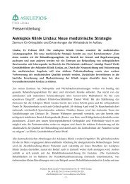 Asklepios Klinik Lindau: Neue medizinische Strategie