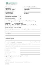 Anmeldung zur stationären geriatrischen Weiterbehandlung