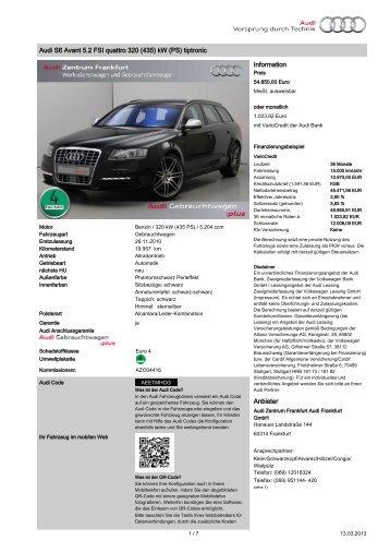 Audi S6 Avant 5.2 FSI quattro 320 (435) kW (PS) tiptronic ...