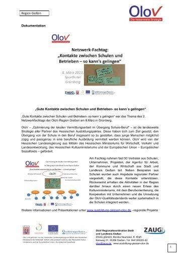 Fachtag 8.3.2013: Dokumentation - Ausbildung in Gießen