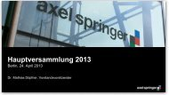 Hauptversammlung 2013 - Axel Springer