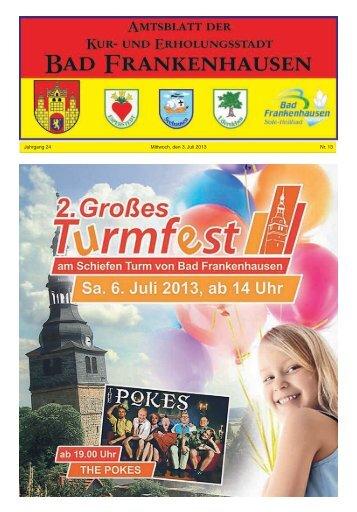 Jahrgang 24 Mittwoch, den 3. Juli 2013 Nr. 13 - Bad Frankenhausen