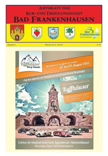 Jahrgang 24 Mittwoch, den 31. Juli 2013 Nr. 15 - Bad Frankenhausen