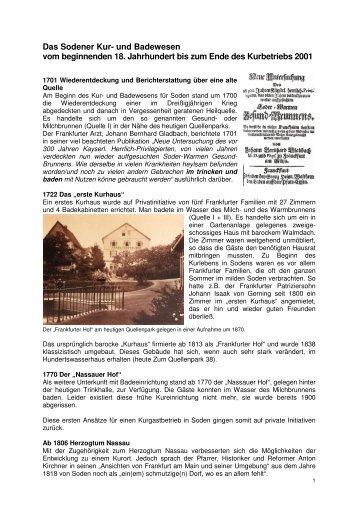 Kur- und Bädergeschichte Bad Soden am Taunus