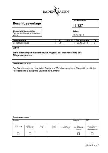 Beschlussvorlage 13.327 - Baden-Baden