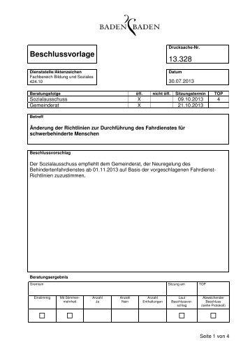 Beschlussvorlage 13.328 - Baden-Baden