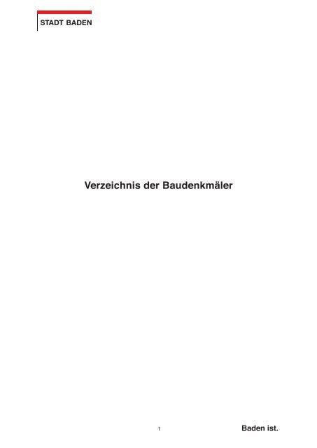 Verzeichnis der Baudenkmäler [PDF, 2.00 MB] - Stadt Baden