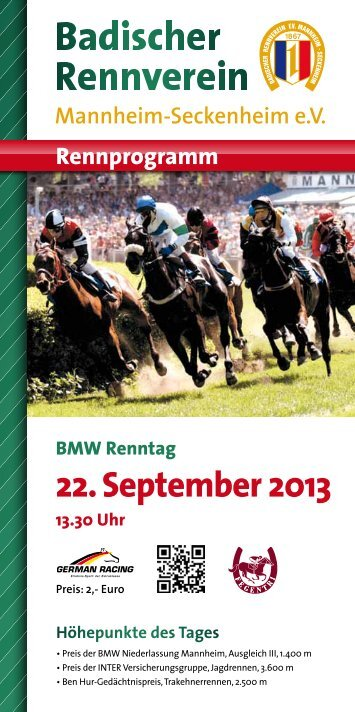 22. September 2013 - Badischer Rennverein Mannheim ...