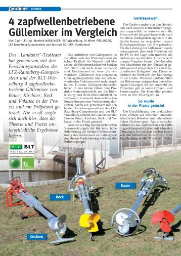 4 zapfwellenbetriebene Güllemixer im Vergleich Der ... - Bauer