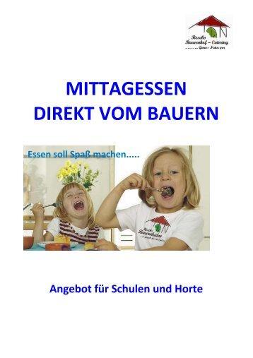 Menüs für Kindergarten Schule, Hort - Bauernladen Egelsee