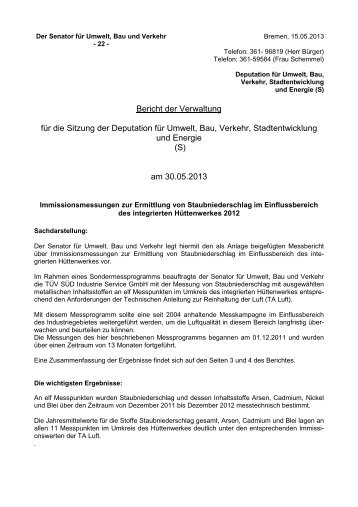Immissionsmessungen zur Ermittlung von Staubniederschlag im ...