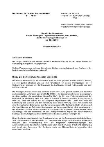Bunker Brokstraße - Der Senator für Umwelt, Bau und Verkehr