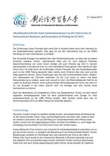 Erfahrungsbericht Peking UIBE - BayCHINA