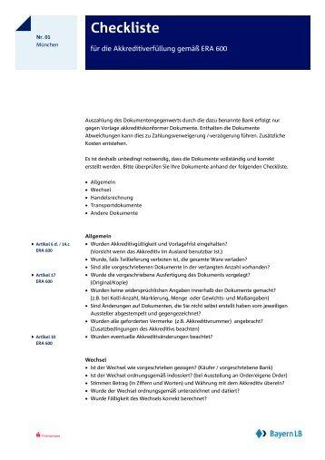 Checkliste für die Akkreditiverfüllung gemäß ERA 600 - Bayerische ...