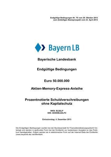 Bayerische Landesbank Endgültige Bedingungen Euro ... - BayernLB
