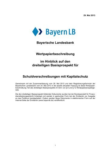I. Risikofaktoren in Bezug auf die Schuldverschreibungen - BayernLB