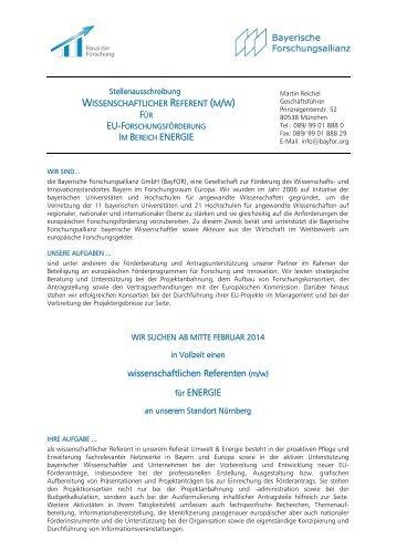 wissenschaftlichen Referenten (m/w) für ENERGIE - Bayerische ...
