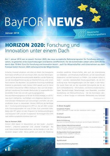 BayFOR News Januar 2014 erschienen! - Bayerische ...
