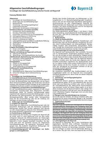 Grundlagen der Geschäftsbeziehung zwischen Kunde und BayernLB