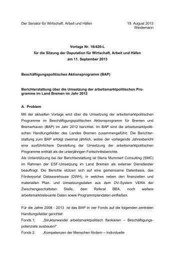 Jahresbericht 2012 - Bericht zur Umsetzung der EU-kofinanzierten ...