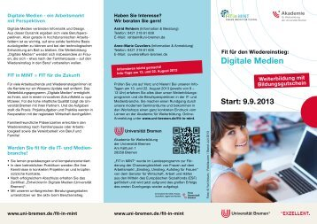 Flyer Fit in Mint Digitale Medien 2013