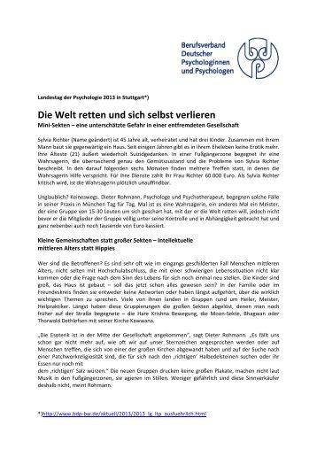 Die Welt retten und sich selbst verlieren - BDP Baden-Württemberg
