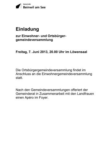 Einladung zur Gemeindeversammlung [PDF, 1.00 ... - Beinwil am See