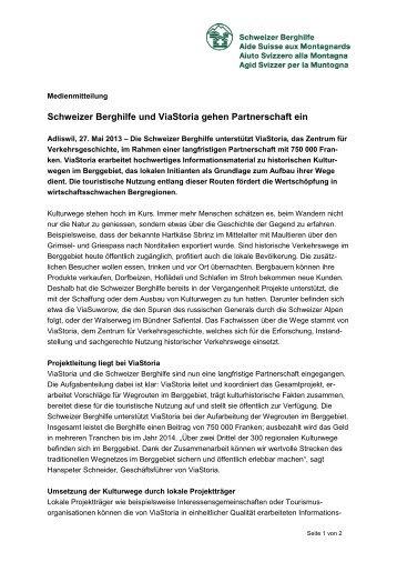 Medienmitteilung vom 27. Mai 2013 - Schweizer Berghilfe