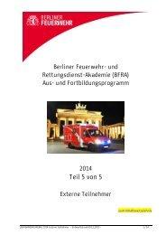 Lehrgangsprogramm 2014 Teil 5 - Berliner Feuerwehr