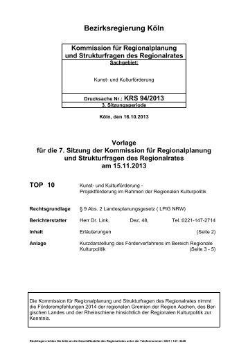 Tagesordnungspunkt 10 - Bezirksregierung Köln