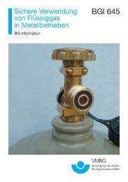 BGI 645 Sichere Verwendung von Flüssiggas in Metallbetrieben