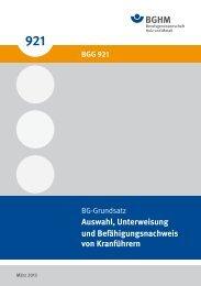 BGG 921 - Berufsgenossenschaft Holz und Metall