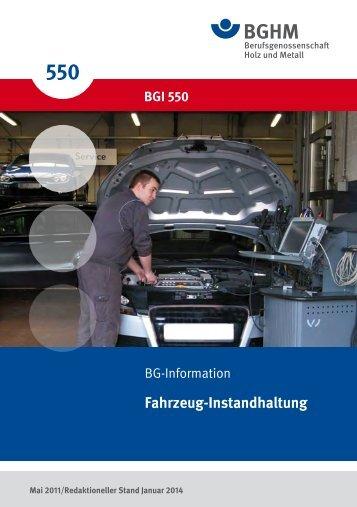BGI 550 - Berufsgenossenschaft Holz und Metall