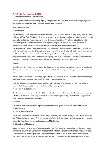 AGB ab Dezember 2013 - Bildungsinstitut - DRK