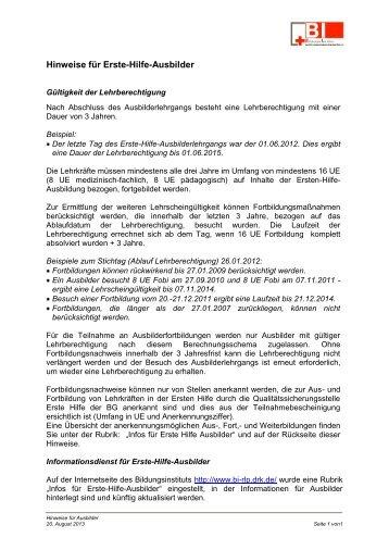 Hinweise für Erste-Hilfe-Ausbilder - Bildungsinstitut - DRK