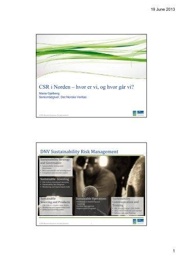 CSR i Norden – hvor er vi, og hvor går vi?
