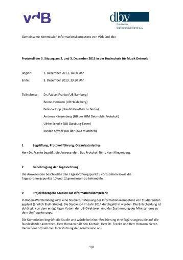 1/8 Gemeinsame Kommission Informationskompetenz von VDB und ...